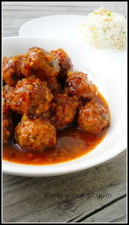 Baked Chicken Meatballs in Orange Chilli Sauce 3